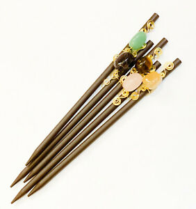 Simple hair stick w copper wire wrapped gemstone tiger eyes amethyst agate etc