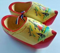 Vintage Dutch Wooden Wall Shoes Clogs Holland Carved Hand Painted Windmill Wood