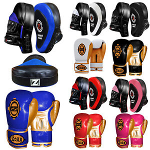 Boxing Gloves & Focus Pad Set Hook & Jab Sparring Punchbag Junior & Adults