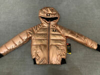 Under Armour Girls Cold Gear Glitz Puffer Jacket Hoodie Coat Rose Gold 5 New