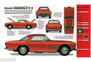 MASERATI 3500/3500GT SPEC SHEET/Brochure/Catalog:1961