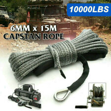 "Synthetic Winch Rope Line 1/4""x50' 10000LBS Recovery Cable 4WD w/ Sheath ATV UTV"