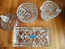 Lead Crystal West Germany Waldford Genuine Handcut tray sugar w lid & cream 4pc