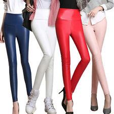 Damen Kunstlederhose Leggings Hüfthose Lederimitat Leder-Optik Hüftjeans NEU 04