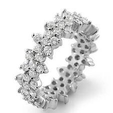 Round Eternity Cubic Zirconia Bridal Wedding Ring Band Sterling Sliver 925 Sz 6