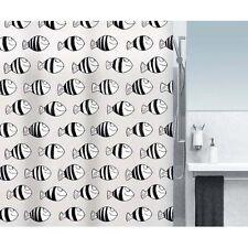 Fofy Black Fisch Duschvorhang 180 x 200 cm. 100% PEVA Schwarz Weiss Markenware