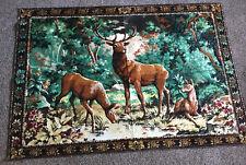 "Large Vintage Tapestry Deer Scene 46 1/2"" x 68"""