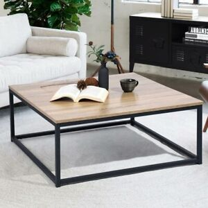 Tavolino Divano Salotto Quadrato Design Moderno Industriale Legno Metallo 80x34