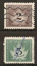 CANADA CONSULAR FEE REVENUES 1949  MAPLE LEAF $2 & $5 FCF4/5, BAREFOOT 4/5 USED