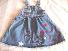 Girls Oshkosh Blue Denim Jumper Dress Patriotic Stars 4th of July 18 Months EUC