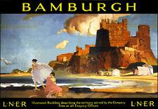 Ferrocarril de viaje Bamburgh LNER Tren Riel c r Flint cartel impresión