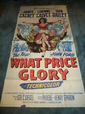WHAT PRICE GLORY(1952)JAMES CAGNEY ORIGINAL 3 SHEET POSTER NICE!
