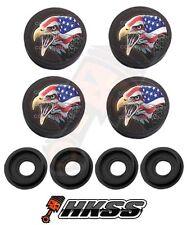 4 Black Custom License Plate Frame Tag Screw Cap Covers - USA FLAG EAGLE B JMT