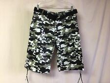 Men's Oakwood Mountain Long Cargo Shorts w/ Belt Size 40 White Black Camo #471R