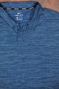 Nike Golf Dri-Fit Tiger Woods Stripe Polo Shirt Green Black Men's XL