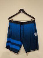 Mens Hurley X Phantom Board Shorts Blue Stripe Pattern Size 32