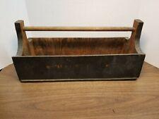 "Primitive Vintage Wooden Tote Tool Carrier 16"" Long x 7"" Wide~ repurpose"