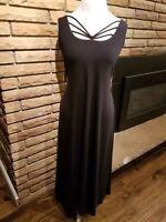 New FENINI Black Maxi Dress Sleeveless Womens Size Medium Wedding Guest Summer