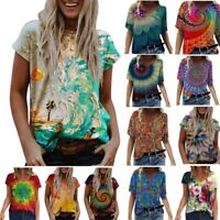 Summer Women Short Sleeve V Neck T Shirt Floral Printing Blouse Casual Loose Top