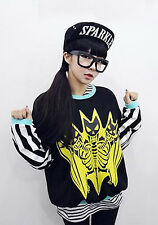 Korean Ulzzang Fashion Style Bat Skeleton Barcode Black Pullover Sweater Top