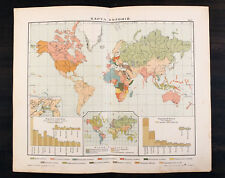 1910s Imperial Russian Antique map of WORLD COLONIES