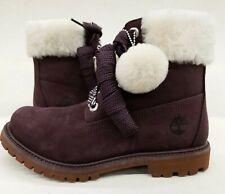 Timberland Women's 6in dark purple Waterproof Nubuck Sample Size 7 fur top boots