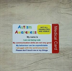 Autism Awareness Wallet Medical Card  personalise ICE Contacts Hidden Disability
