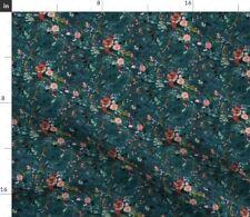Floral Teal Vintage Flowers Rose Dark Moody Fabric Printed by Spoonflower BTY