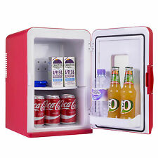 15L Portable Small Mini Fridge With Window For Bedroom, Mini Cooler In Red