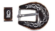 American Heritage Equine Buckle Set with Brass Barbwire Design