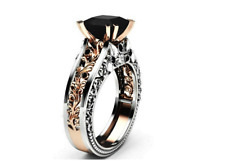 Black 14K Rose Gold Plated and 925 Sterling Silver Engagement ring-#W6-143