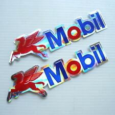 *2PC. PEGASUS MOBIL OIL LUBE DECAL STICKER DIE-CUT FOIL EMBOSS AUTO MOTOR SPORTS