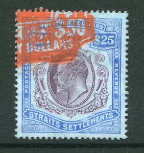 1911 Straits Settlements Malaya GB KEVII $25 stamp Fiscal USED