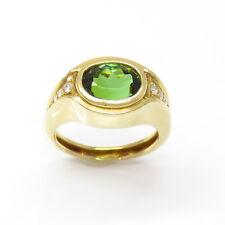 NYJEWEL 18k Yellow Gold 3.14ct Green Tourmaline Diamond Ring