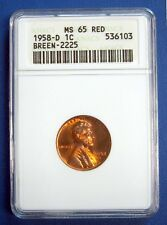 1958-D LINCOLN CENT. ANACS CERTIFIED  MS65 RED. BREEN-2225.