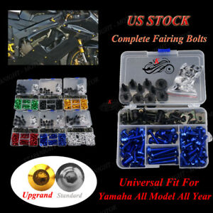 Sliver WYNMOTO US Stock Motorcycle Full Fairings Aluminum Fasteners Screws For Yamaha R1 2009 2010 2011 YZF1000 R1 09 10 11 New Bolt Kit Hardware Clips
