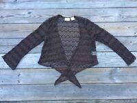 Worthington Women Shrug Top Dark Brown Lace Embroidery Size 1X