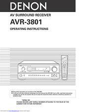 Denon AVR-3801 AV Surround Receiver Owners Manual