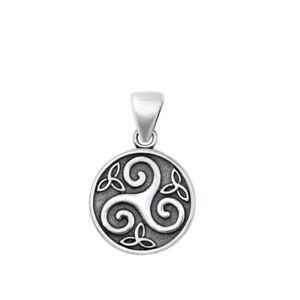 Oxidised 925 Sterling Silver Celtic Triskele Triskelion Pendant 14 mm