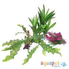 AQUARIUM FISH TANK realistica delle piante con aria pietra Set di 4 33 cm 18 cm 14cm 14cm