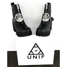 NEW UNIF DWBH Don't Worry Be Happy Black Leather Combat Boots Women's Size 7 NIB