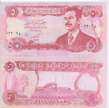 Iraq - 5 dinars  1992  war issue unc currency note