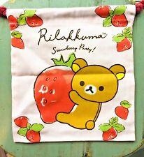 New San-x Rilakkuma Bear Strawberry Drawstring bag pouch Kawaii - US Ship