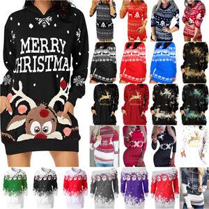 Christmas Women Reindeer Mini Dress Casual Party Slim Jumper Bodycon Dresses Hot