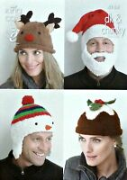 KNITTING PATTERN Ladies and Mens Christmas Hats Cuddles Chunky DK King Cole 4114