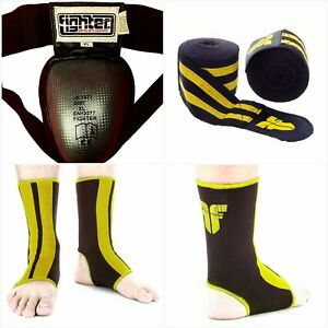 Muay Thai Boxers Steel CUP Elastic waist  XL Groin +2 Yellow ANKLE +2 Hand wraps