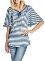 NWT UNION BAY WOMEN'S STRIPED LACE-UP TOP FLUTTER SLEEVE TWILIGHT 'L' MSRP32
