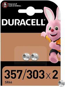 DURACELL 357/303 Pile Oxyde d'argent 1,5 V - Blister de 2 piles - DATE 03/2024
