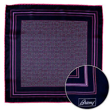 Men's BRIONI Pink Polka Dot Silk Hand Made Rolled Pocket Square Handkerchief