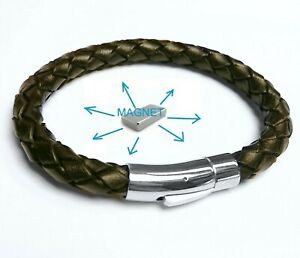 FROM REAL LEATHER Magnetic Energy Armband Power Bracelet Health Bio MAGNET